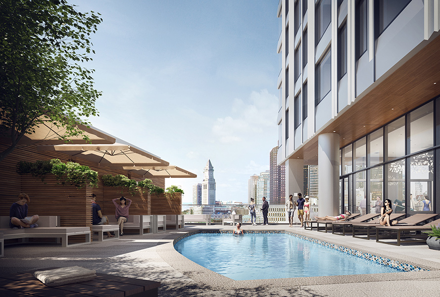 Pool deck at Residential Tower